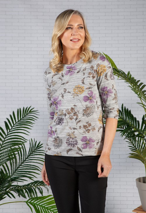 Bicalla Stripes and Floral Top