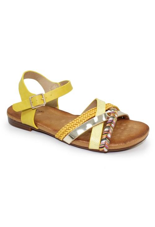 Lunar Louisa Multi Cross Strap Sandal in Yellow