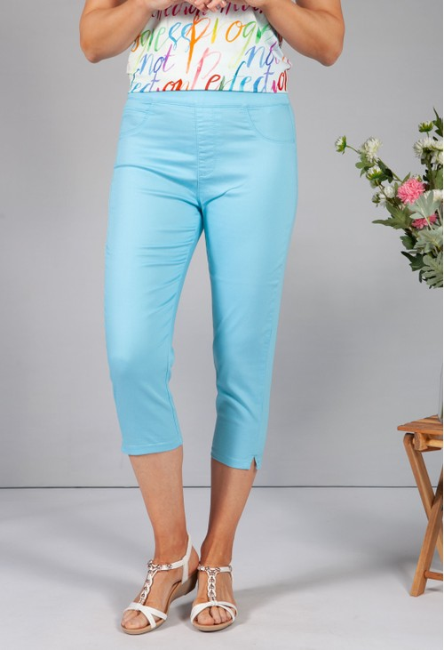 Twist Turquoise Cropped Pull Up Jeans