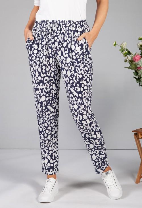 Sophie B Navy Leopard Print Trousers