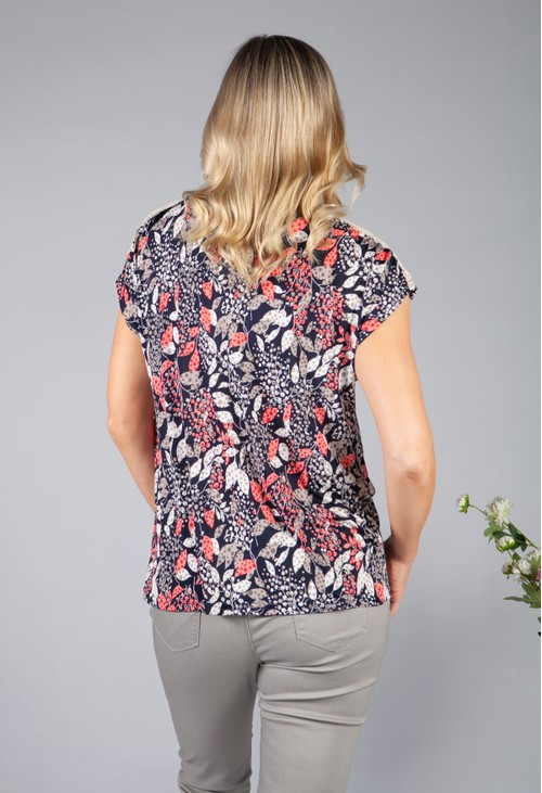 Sophie B Lace Sleeve Floral Top in Navy