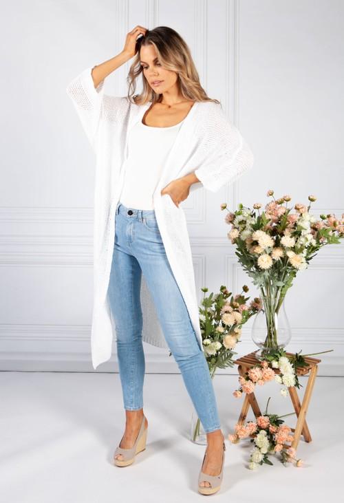 1 Long White Loose Knit Cardigan