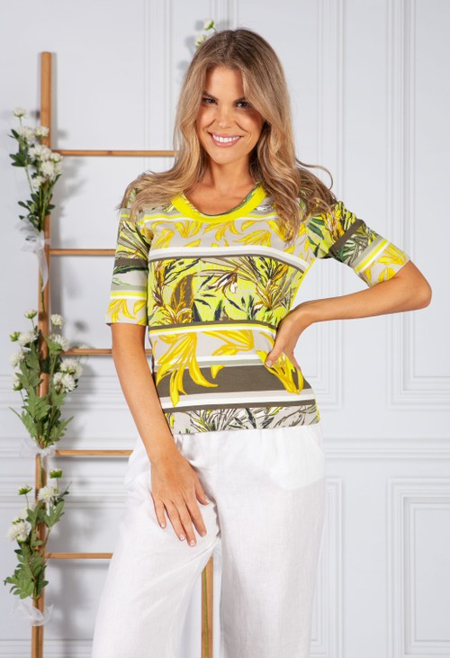 Betty Barclay LEAF PRINT TOP LIME IN LIME