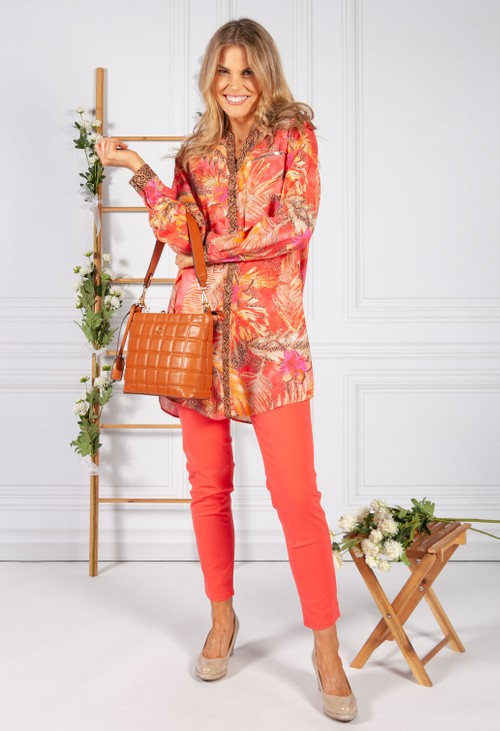 Betty Barclay LEAF PRINT TUNIC IN CORAL