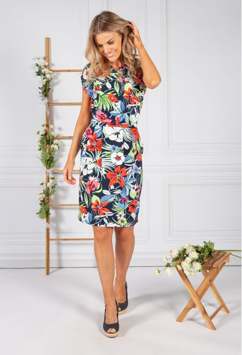 Betty Barclay V NECK FLORAL PRINT DRESS IN NAVY