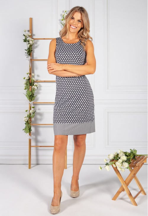 Betty Barclay Reversible Geometric Print Dark Navy Dress