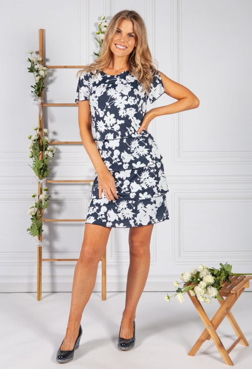 Betty Barclay FLORAL PRINT RUFFLE DRESS IN NAVY