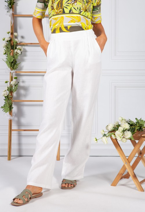 Betty Barclay White Linen Trousers
