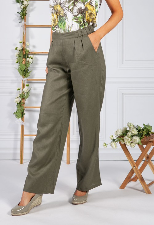 Betty Barclay Khaki Linen Trousers