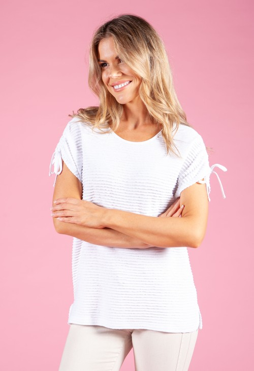 Betty Barclay RIBBED TOP WITH TIE SLEEVES