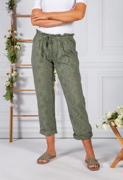 Pamela Scott Embroidered Khaki Pant