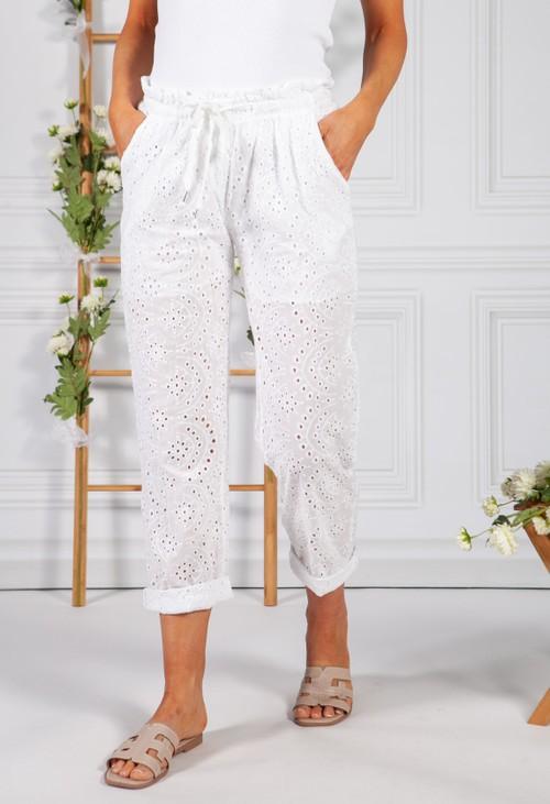 Pamela Scott White Embroidered Pant