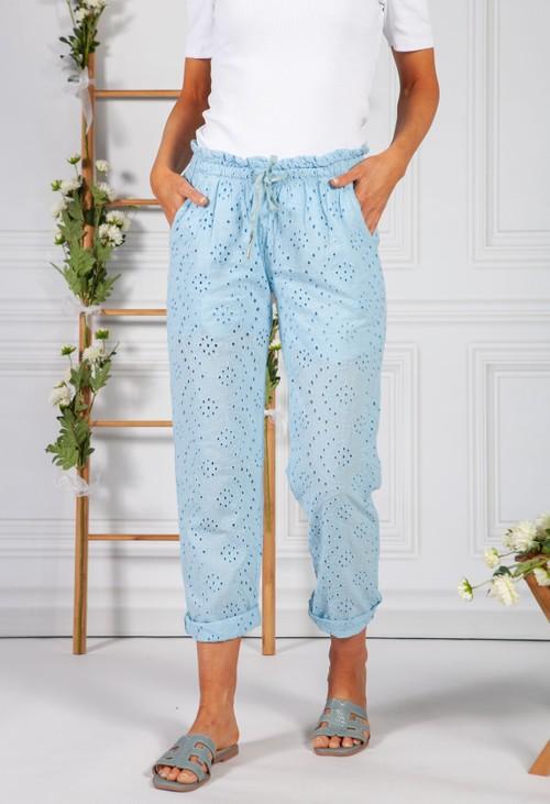 Pamela Scott Embroidered Blue Pant