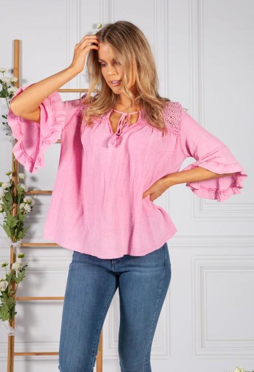 Pamela Scott Faded Pink Cotton Top