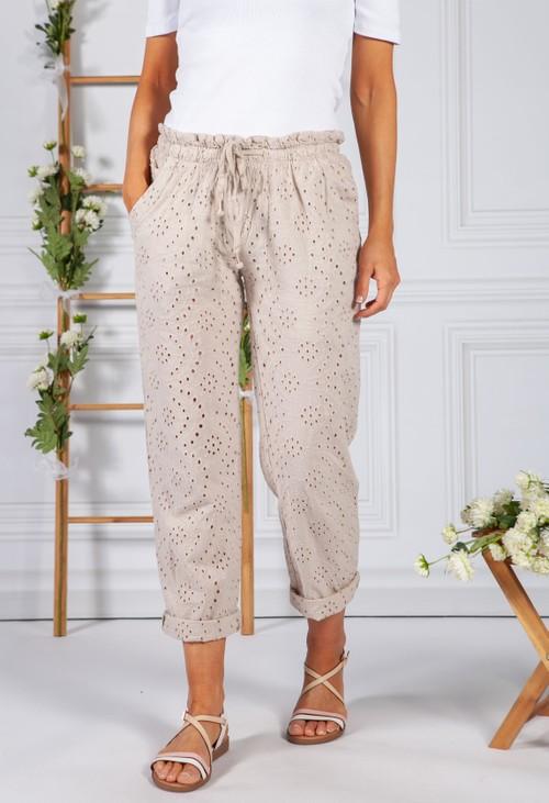 Pamela Scott Embroidered Beige Pant