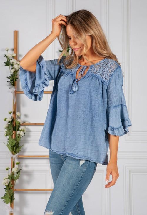 Pamela Scott Faded Blue Cotton Top