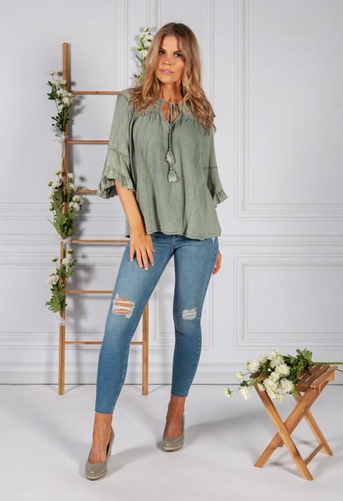 Pamela Scott Faded Green Cotton Top