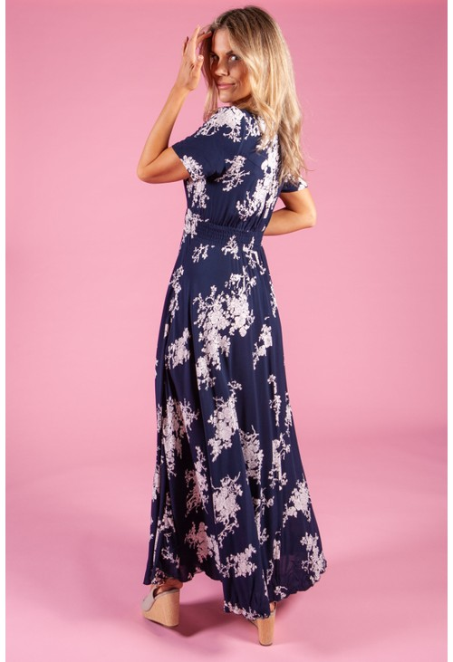 Pamela Scott Rose Printed Dress in Navy