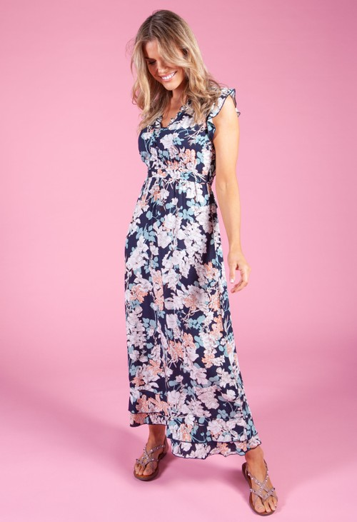 Pamela Scott Navy Dress with Floral Print
