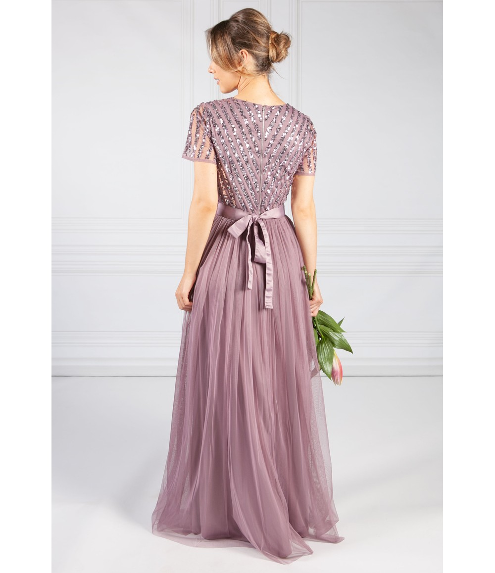 Maya Deep Lilac V NECK SEQUIN AND TULLE DRESS WITH TIE WAIST