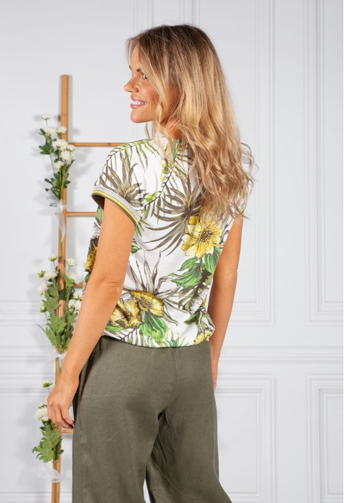 Betty Barclay LEAF PRINT TOP WITH STUD DETAIL IN KHAKI