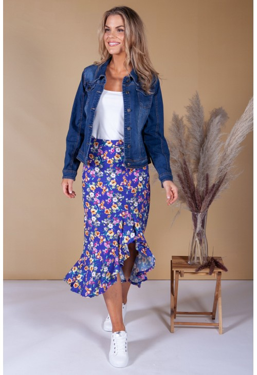 Zapara Forget Me Not Floral Print Skirt in Violet