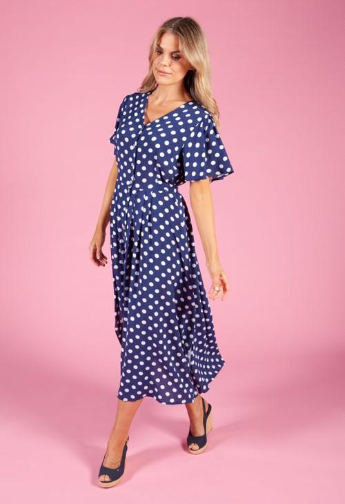Zapara Classic Navy Polka Dot Dress