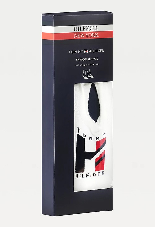Tommy Hilfiger 4-PACK FOOTIE SOCKS in navy and White