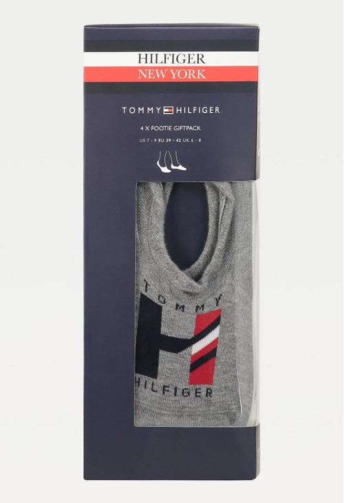 Tommy Hilfiger 4-PACK FOOTIE SOCKS in Grey and White