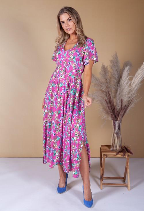 Zapara Pink Digital Floral Print Dress