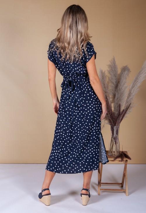 Zapara Faux Wrap Navy Polka Dot Dress