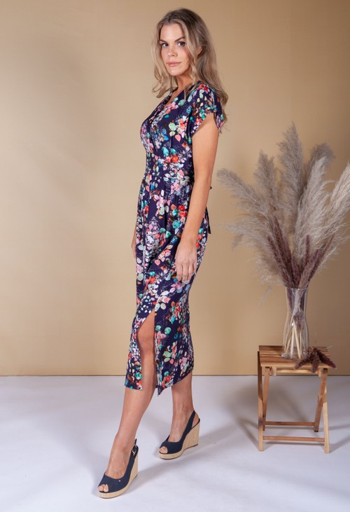 Zapara Abstract Floral Print Dress