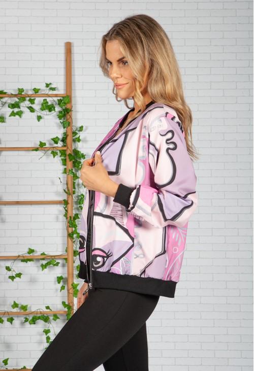 Zapara Lilac Picasso Bomber Jacket