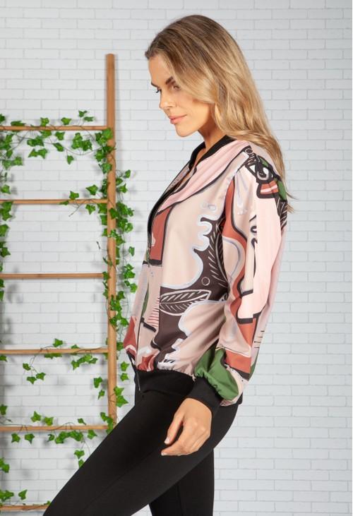 Zapara beige Picasso Bomber Jacket