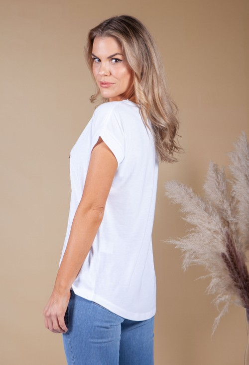 Twist White T-Shirt with Sequin Star