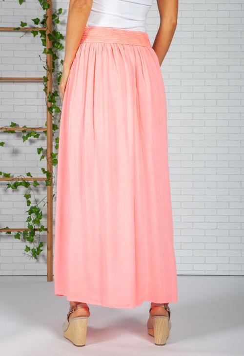 Zapara Bright Coral Maxi Skirt