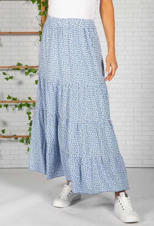 Pamela Scott Blue Daisy Print Skirt