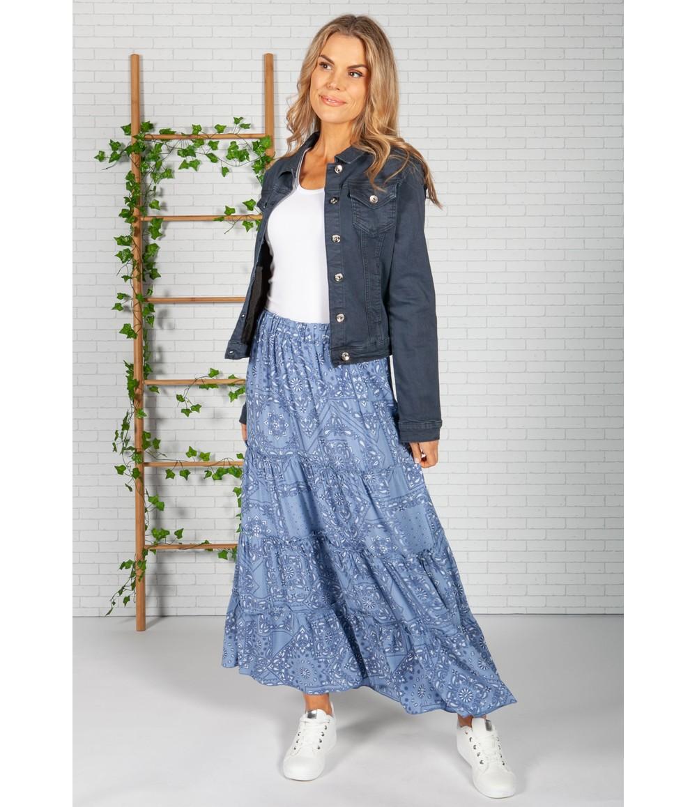 Pamela Scott Blue Paisley Print Skirt