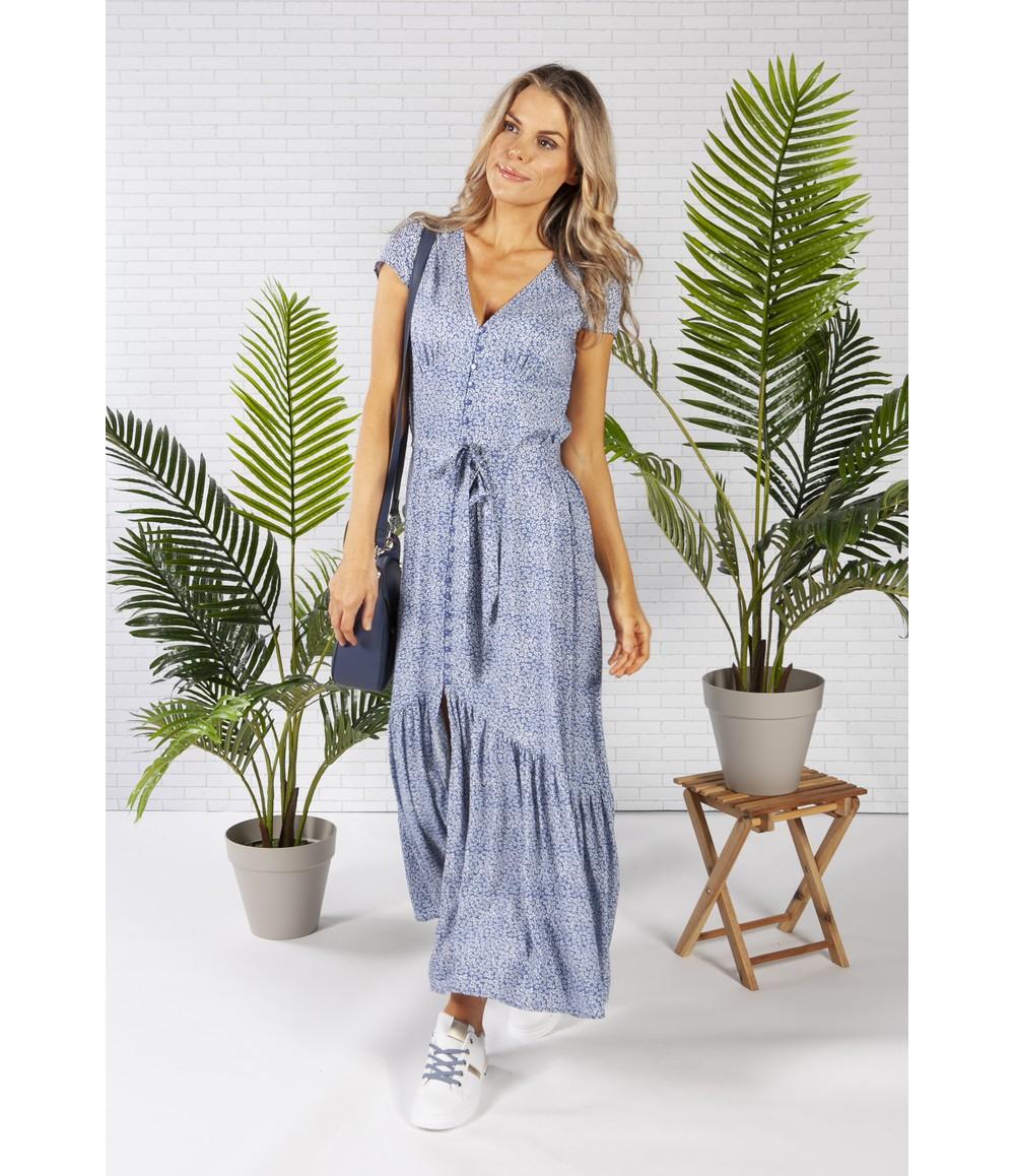 Pamela Scott Printed Maxi Dress in Blue