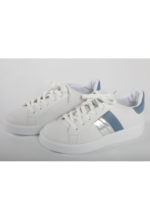 Shoe Lounge White Faux Leather 6 eye laced Blue Collar and Stripe Trainer