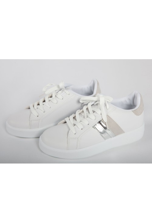Shoe Lounge White Faux Leather 6 eye laced Grey Collar and Stripe Trainer