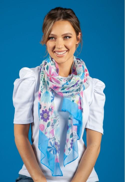 Pamela Scott Floral Pop Print Scarf with Blue