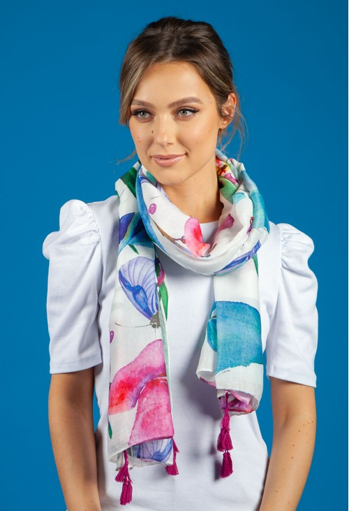 Pamela Scott Floral and Palm Print Scarf with Tassel Corners