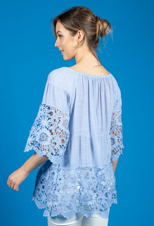 Pamela Scott Lace panel Relaxed Fit Blouse in Faded Blue
