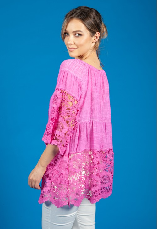 Pamela Scott Lace Panel relaxed Fit Blouse in Fuchsia
