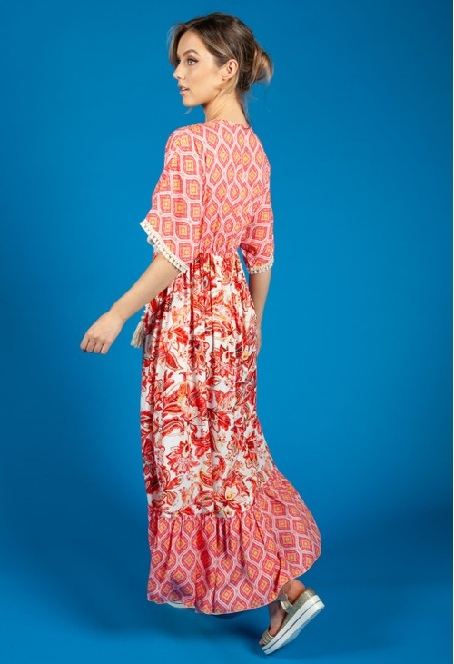 Pamela Scott Soft Red Vintage Floral Print Dress