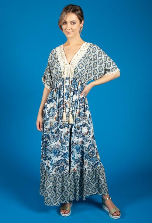 Pamela Scott Soft Blue Vintage Floral Print Dress