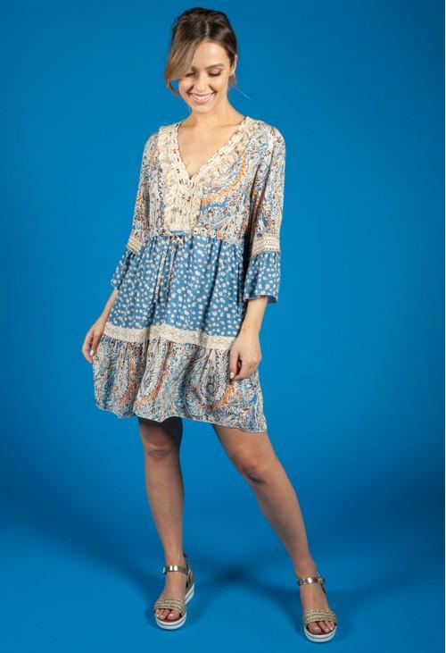 Pamela Scott Paisley Mixed Print Dress