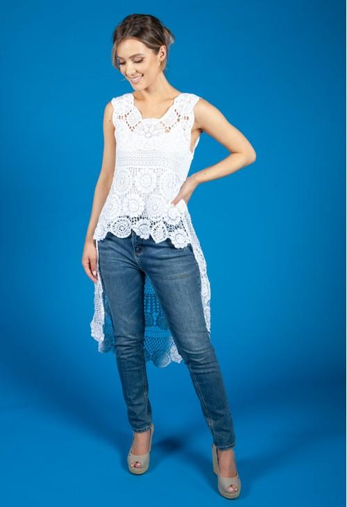 Pamela Scott Lace Hi Low Top in White