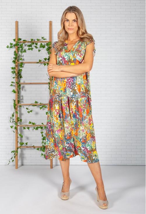 Zapara Tropic Print Dress in White